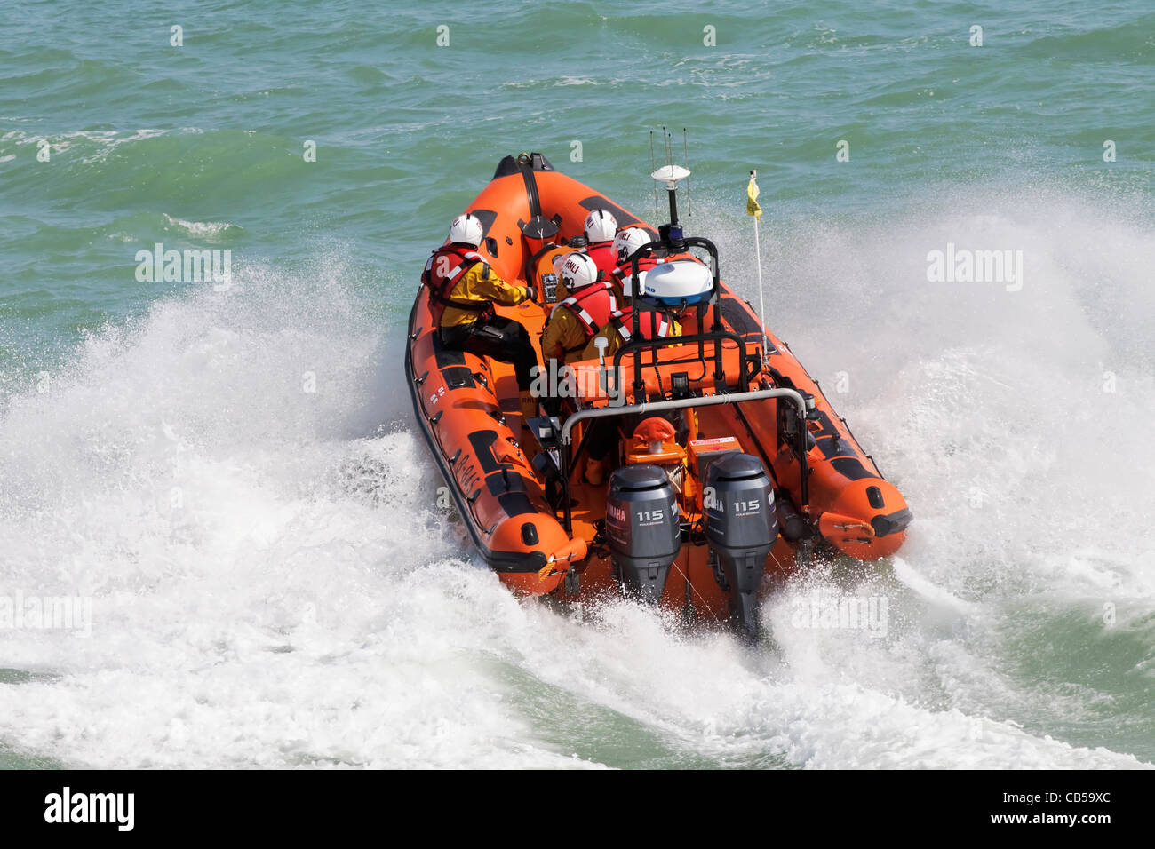 Sheringham's B-class Atlantic rigid inflatable lifeboat The Oddfellows rushes in to action - Stock Image