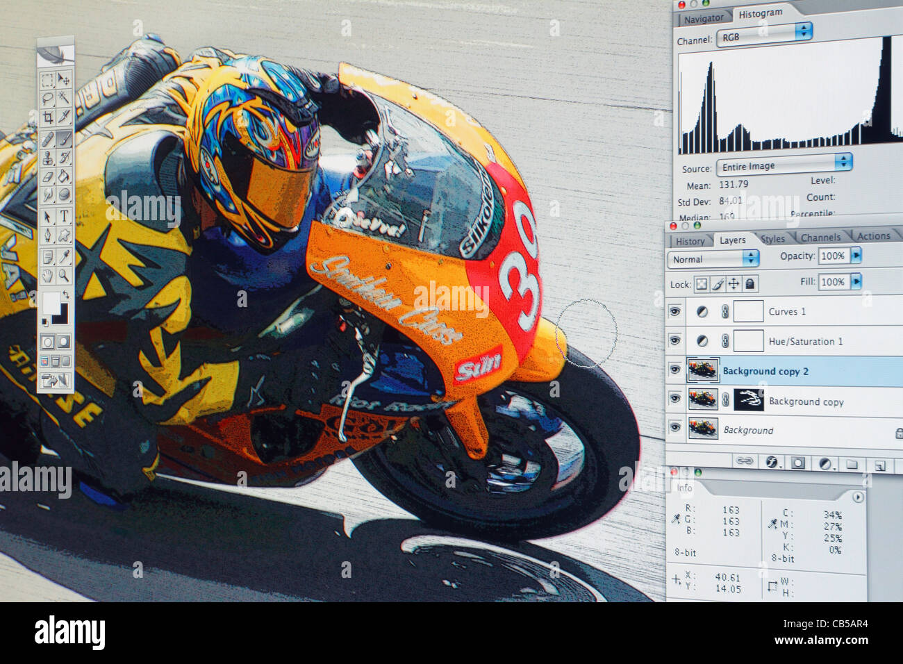 Photograph being edited in Adobe Photoshop. Original image at A185T7. Final image at A698YA - Stock Image