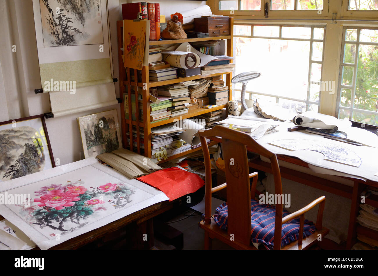 Private studio office of a professional Chinese painter in a Shichahai area hutong of Beijing Peoples Republic of Stock Photo