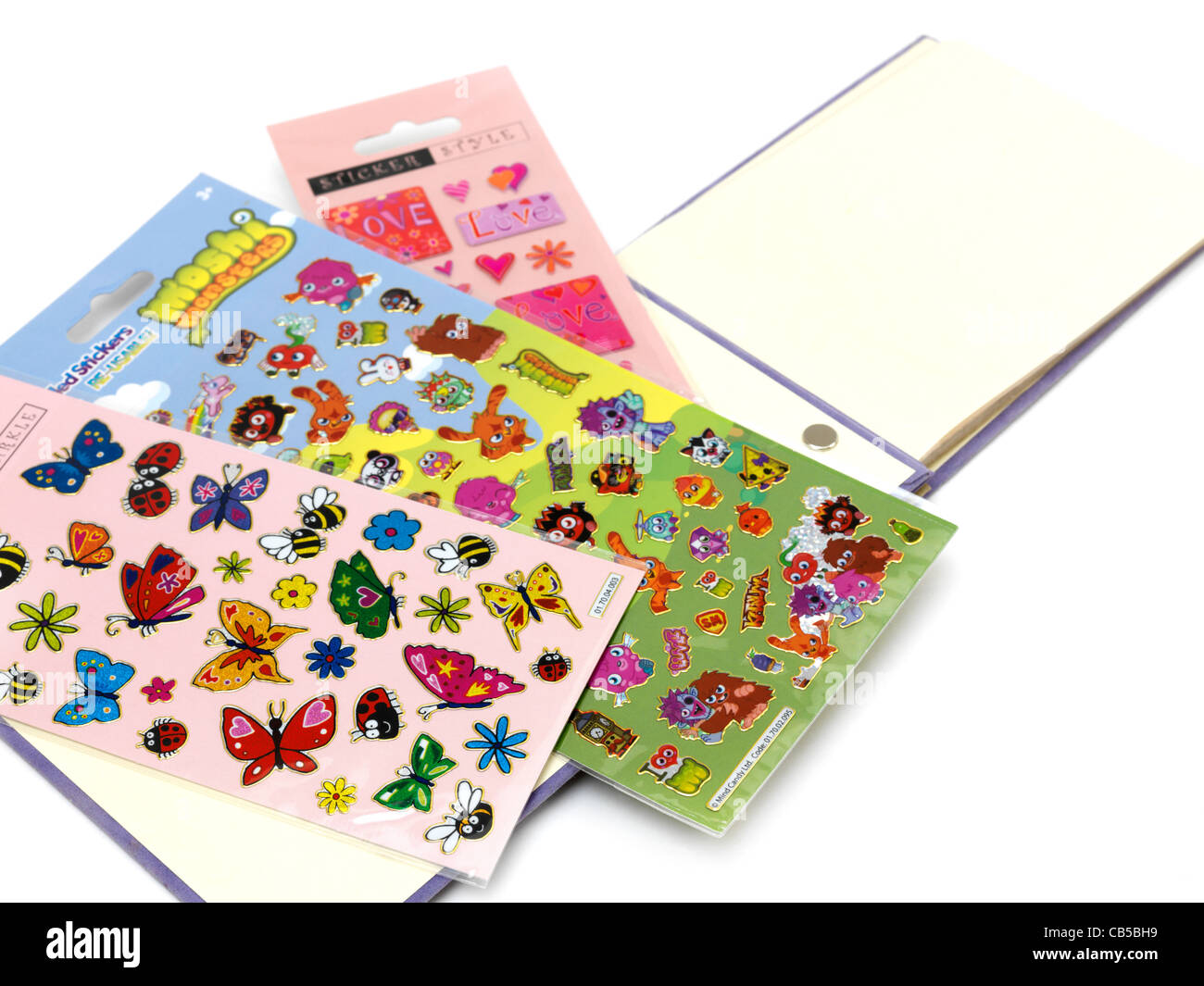 Butterflies, Love And Moshi Monsters Stickers And Sticker Album - Stock Image