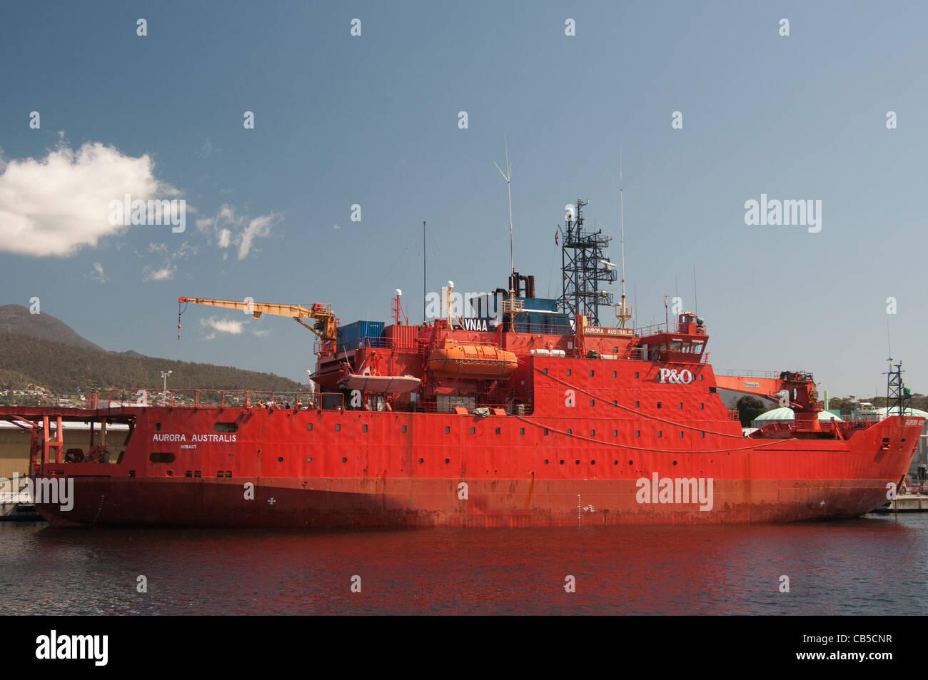 Australian Antarctic (ANARE) supply vessel 'Aurora Australis' at anchor in Hobart, Tasmania. - Stock Image