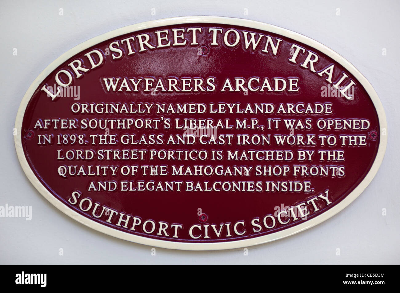 Lord Street Town Trail Plaque inside the Wayfarers Arcade Southport Stock Photo