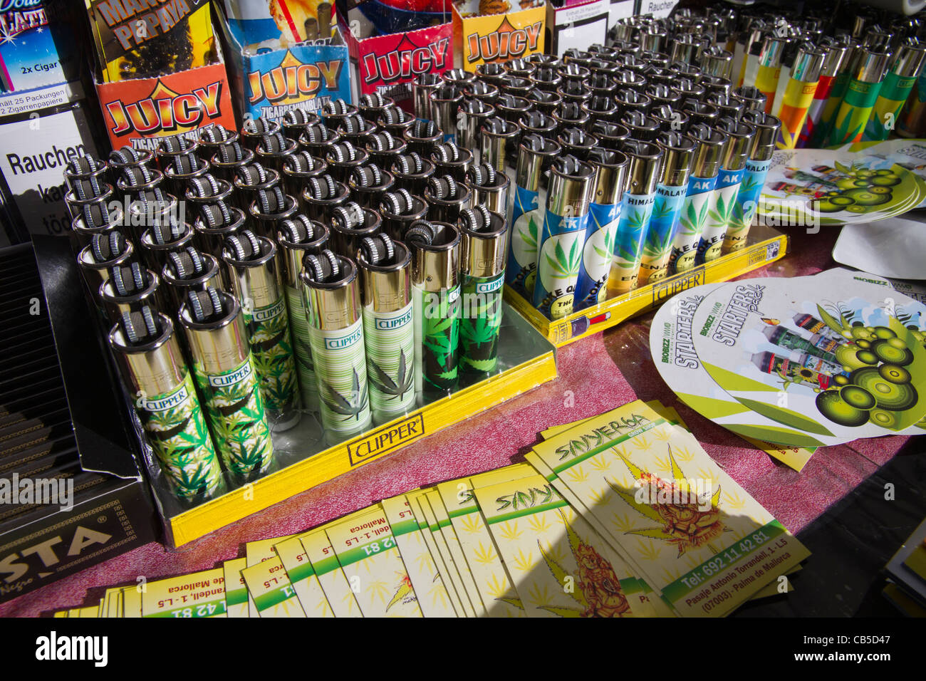 lighters gadget with hemp cannabis printed for sale - Stock Image