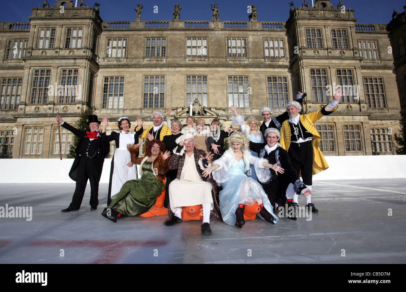 Fairytale characters pose on an ice rink at Longleat House, the ancestral home of Lord Bath, in Wiltshire, England. Stock Photo