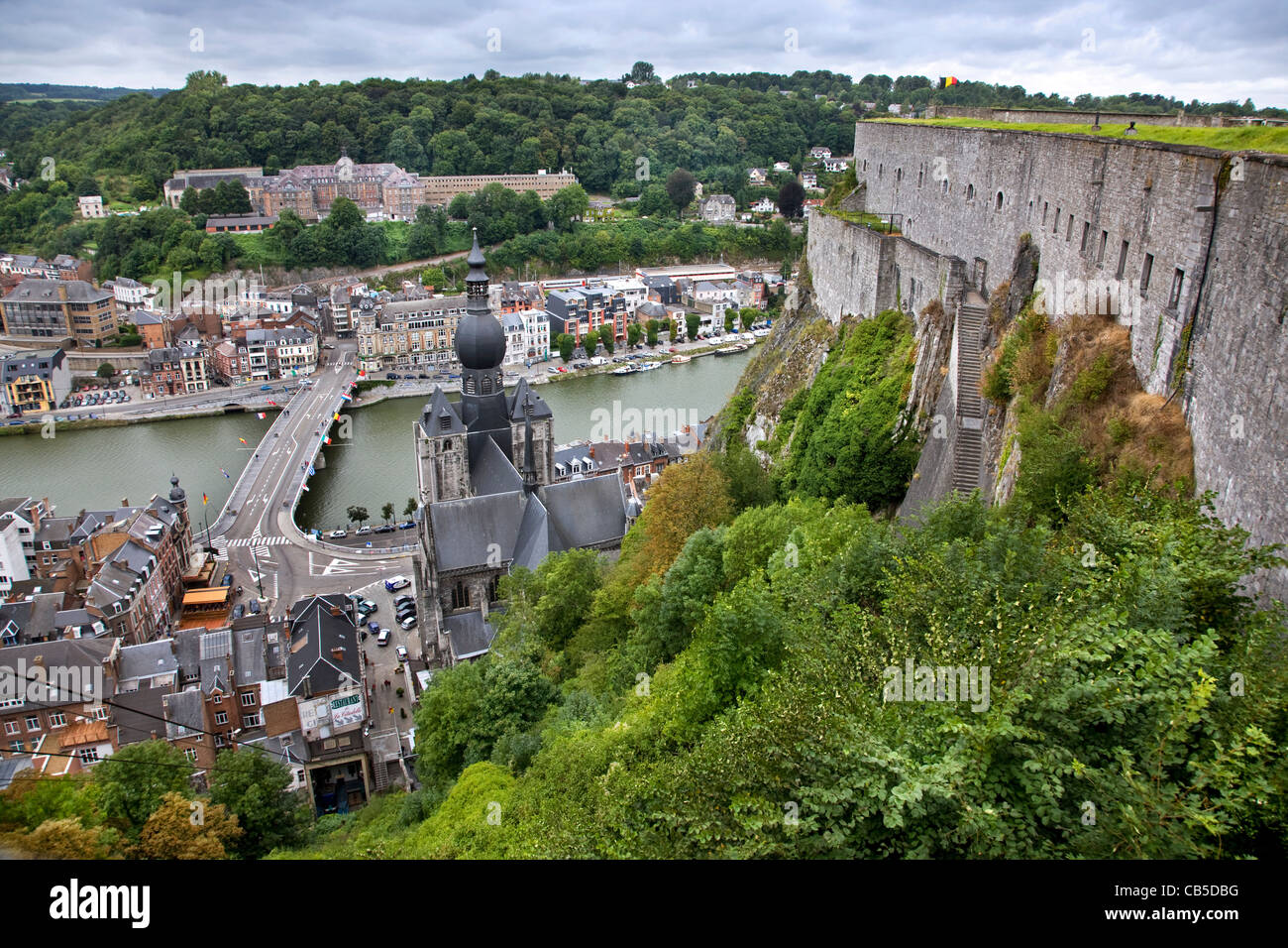 View over the town Dinant and the Collegiate Church of Notre-Dame along the river Meuse, Belgium - Stock Image