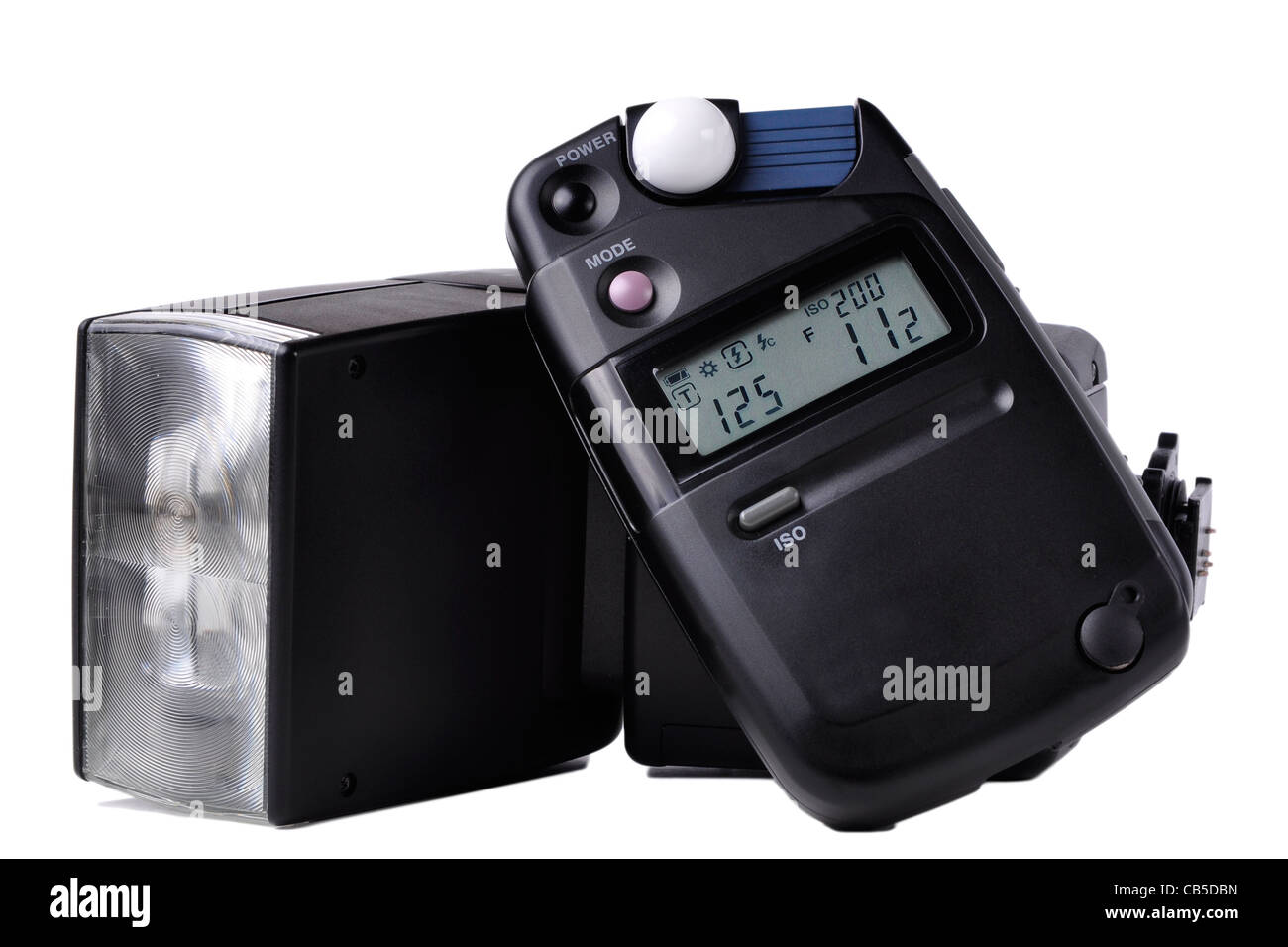 Closeup of a flash and a light meter used in photography - Stock Image