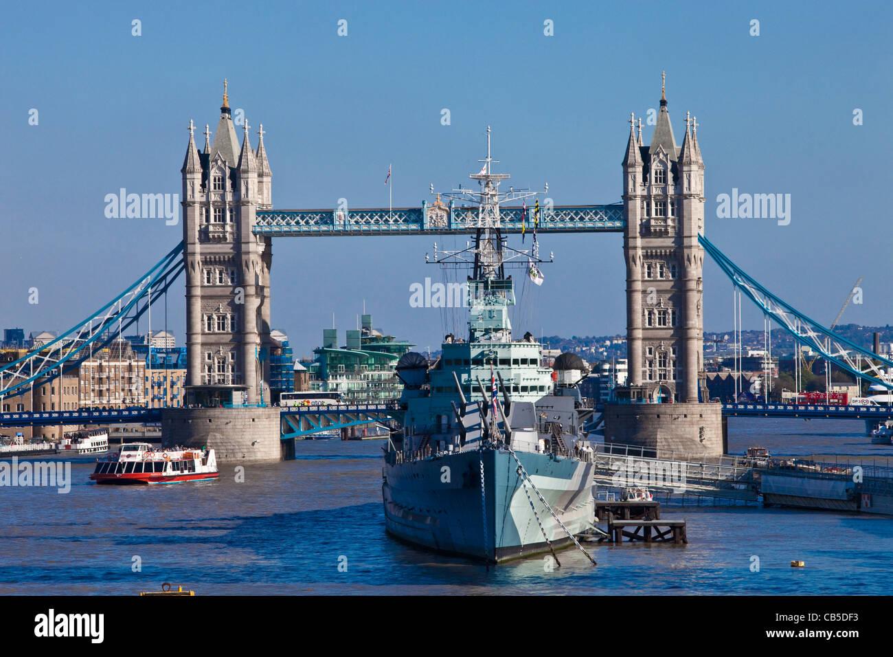 Tower Bridge and HMS Belfast, London, England - Stock Image