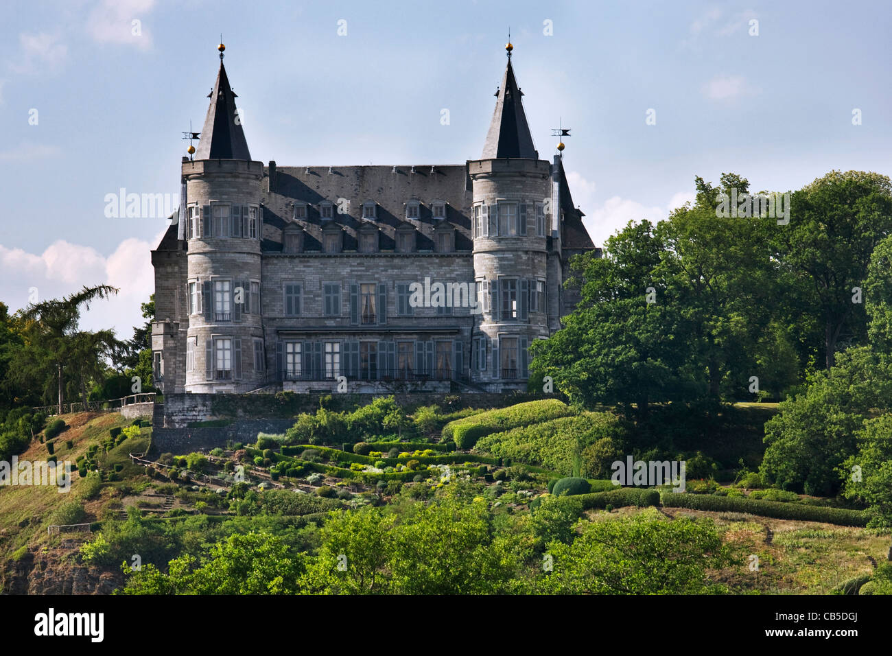 Royal Castle of Ciergnon, residence and summer retreat of the Belgian Royal Family, Ardennes, Belgium - Stock Image