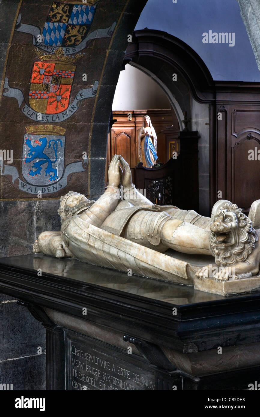 Tomb in the Collegiate Church of Saint Pierre and Saint Paul at Chimay, Ardennes, Belgium - Stock Image