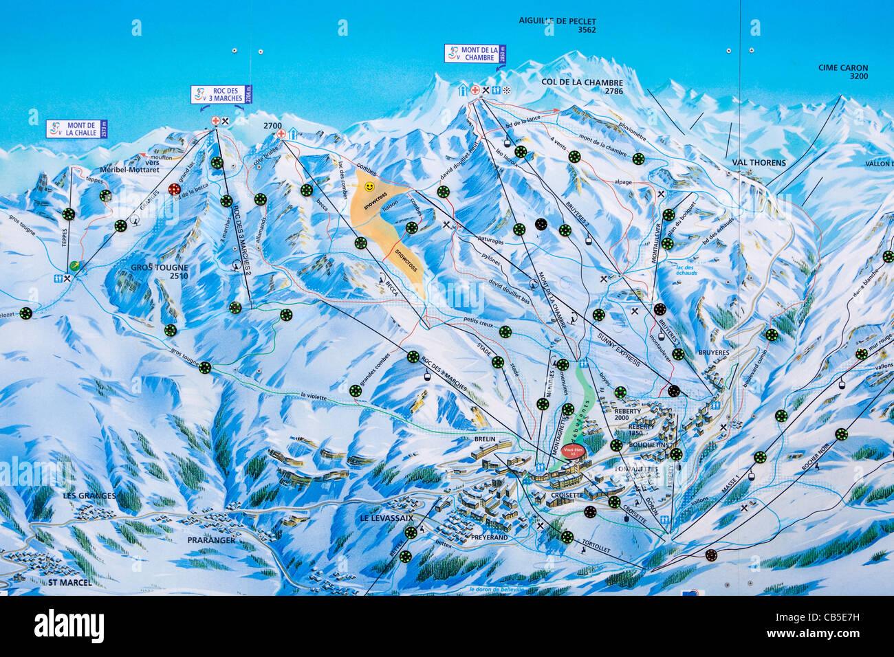 Trois Vallees illuminated piste map, Les Menuires, Savoie, France. - Stock Image