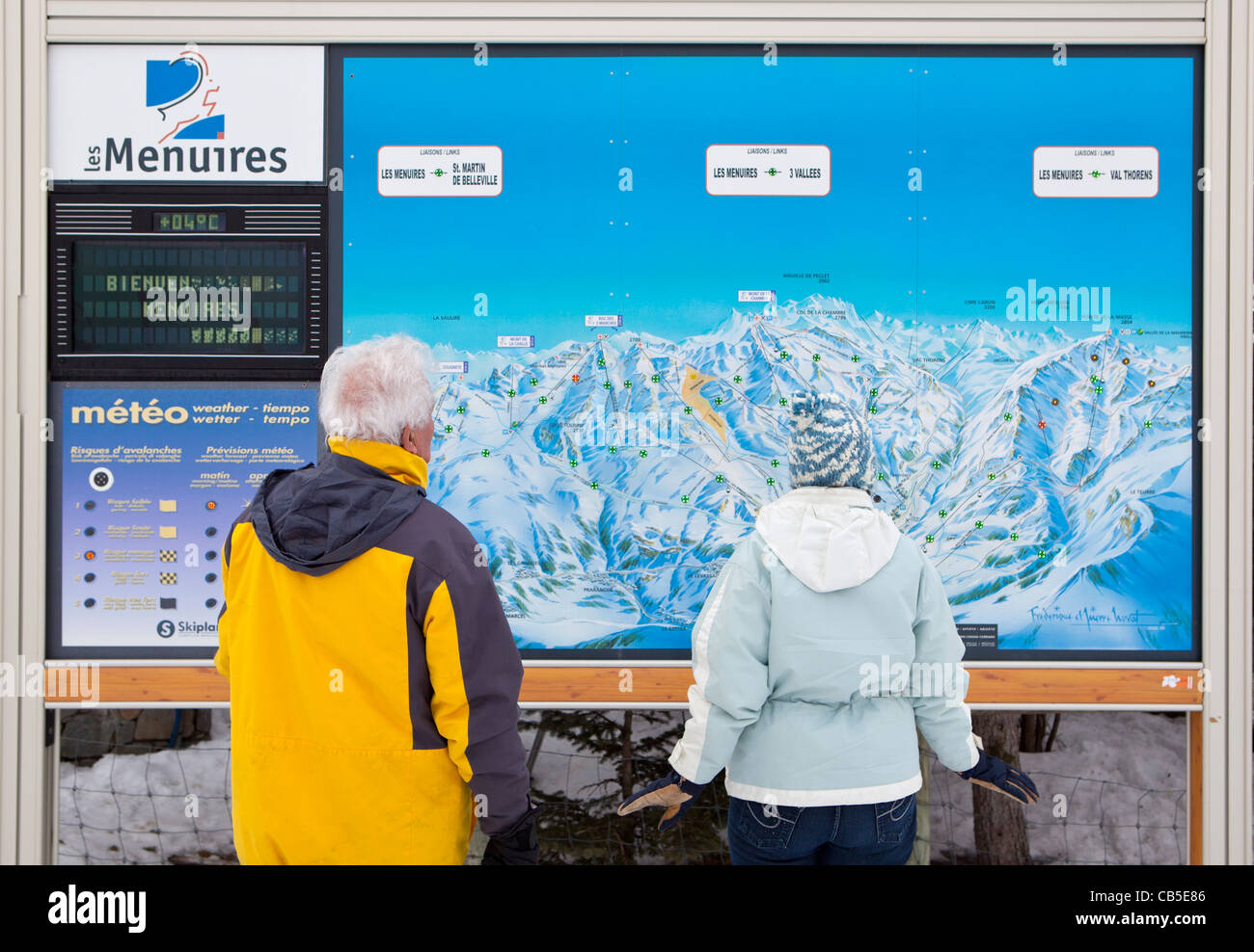 Trois Vallees illuminated piste map, Les Menuires, Savoie, France. - Stock Image