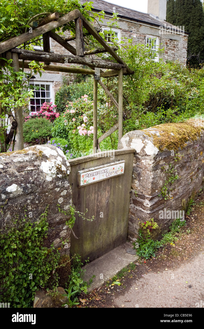 The gate and front garden of a cottage in the village of Altarnun in Cornwall, England - Stock Image