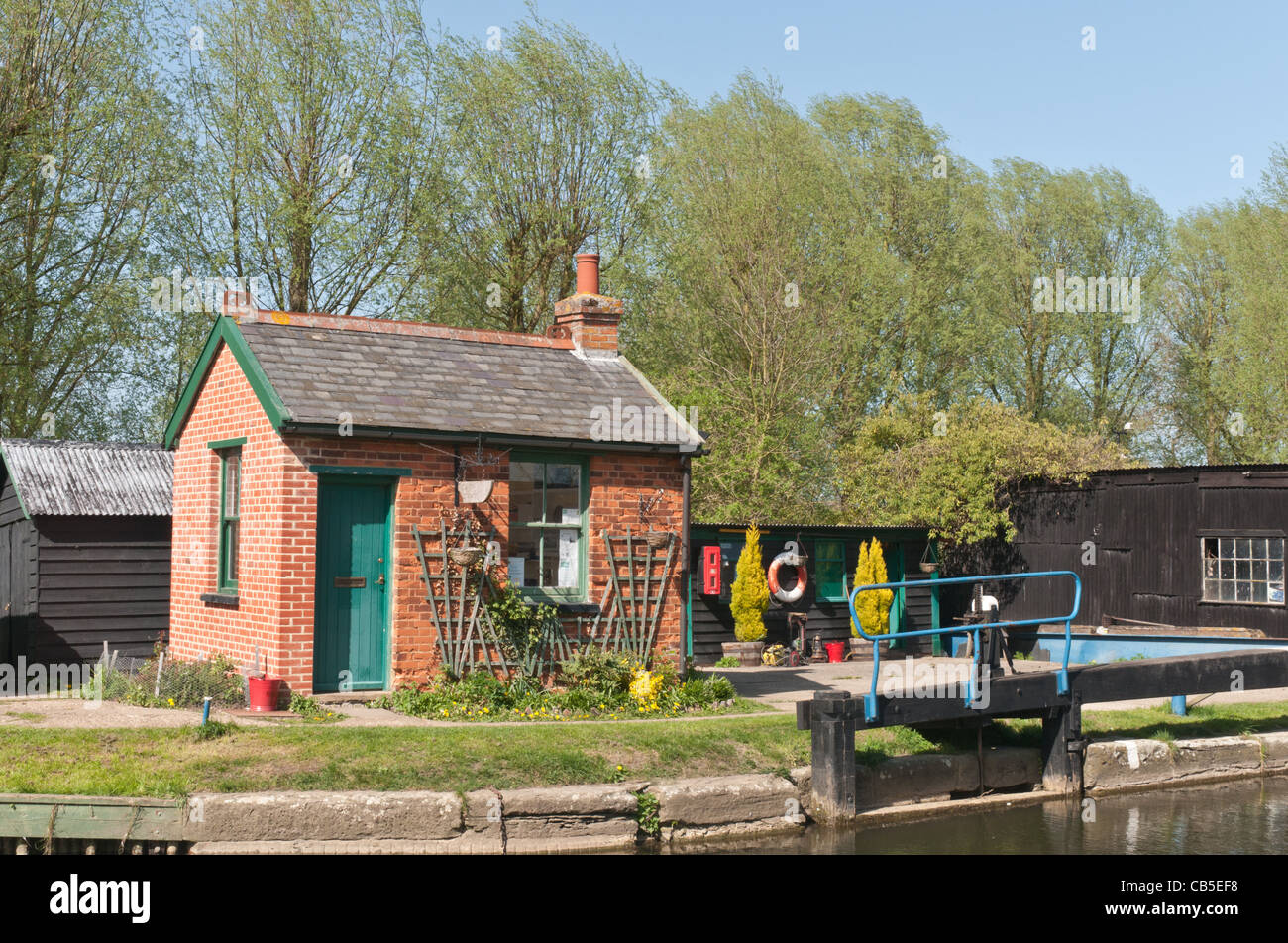 Paper Mill Lock on the Chelmer Navigation that runs from Heybridge to Chelmsford in Essex - Stock Image