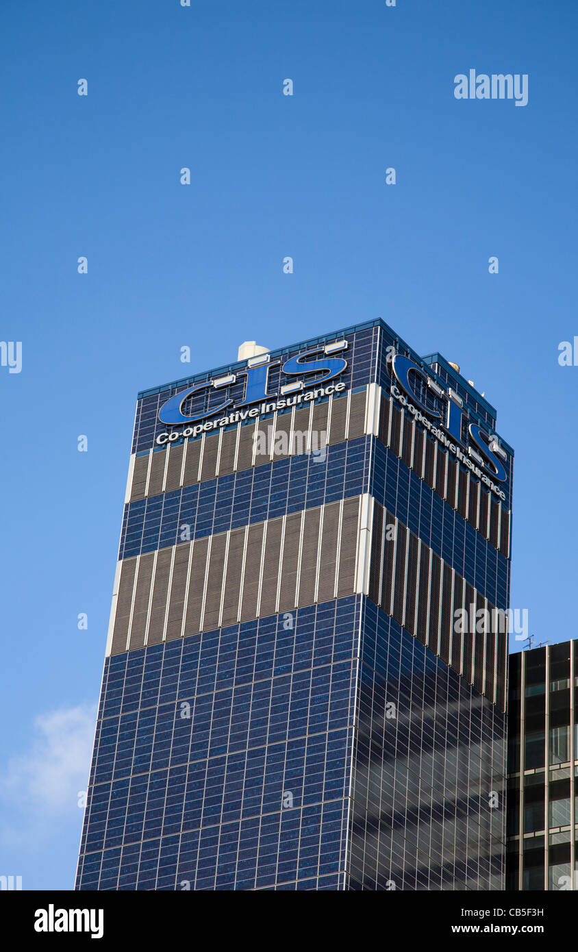 The Glass Walled Building of the CIS_ Co-operative Group's head office in Greater Manchester city centre, UK - Stock Image