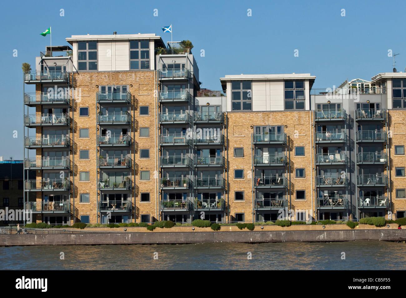Riverside Apartments Docklands London England Stock Photo