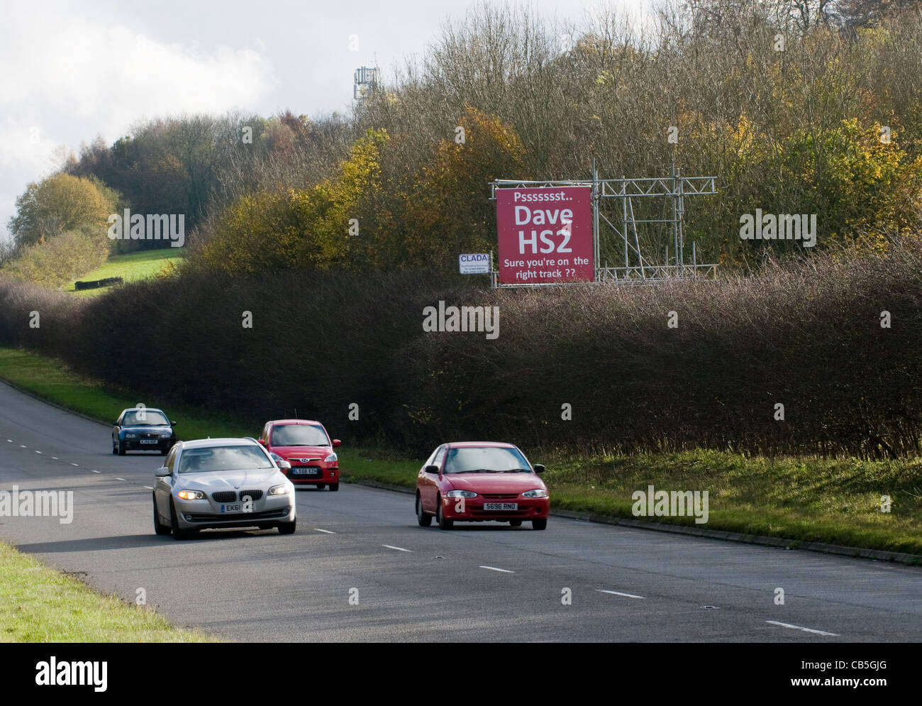 Sign on the A413 near Amersham, urging 'Dave' the Prime Minister to reconsider the HS2 rail proposal plans. - Stock Image