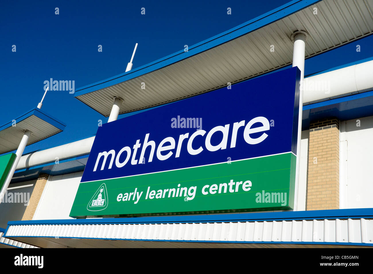 Sign board over a branch of Mothercare - Stock Image
