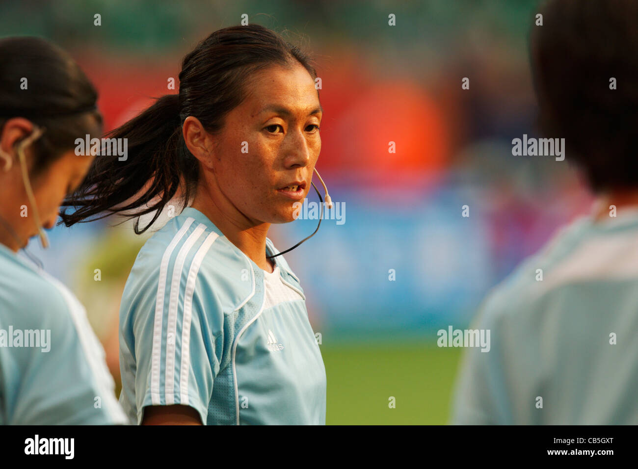Assistant referee Saori Takahashi (Japan) warms up before a FIFA Women's World Cup Group C match between Sweden - Stock Image