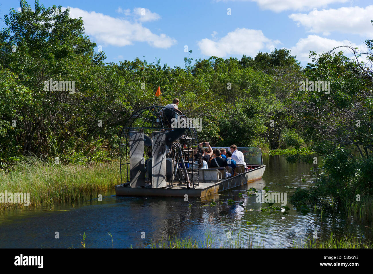 Airboat tour at Gator Park Airboat Tours on Highway 41 (Tamiami Trail), Florida Everglades, Florida, USA - Stock Image