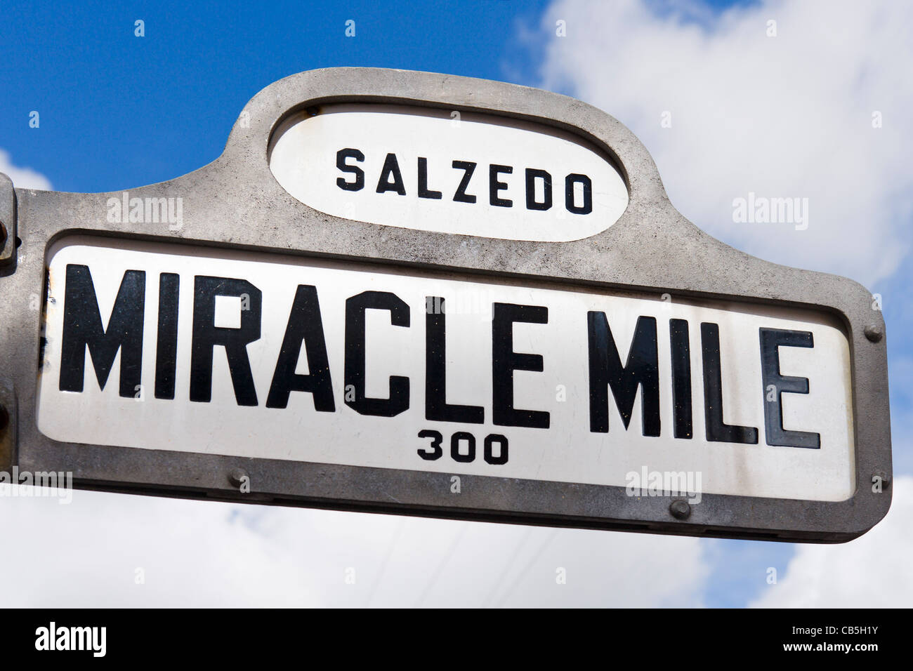 Street sign for the Miracle Mile (Coral Way), Coral Gables, Miami, Florida, USA Stock Photo