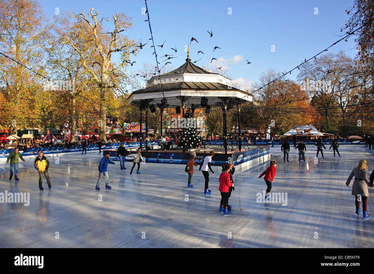 Victorian bandstand and ice skating rink at 'Winter Wonderland' Hyde Park, City of Westminster, London, - Stock Image