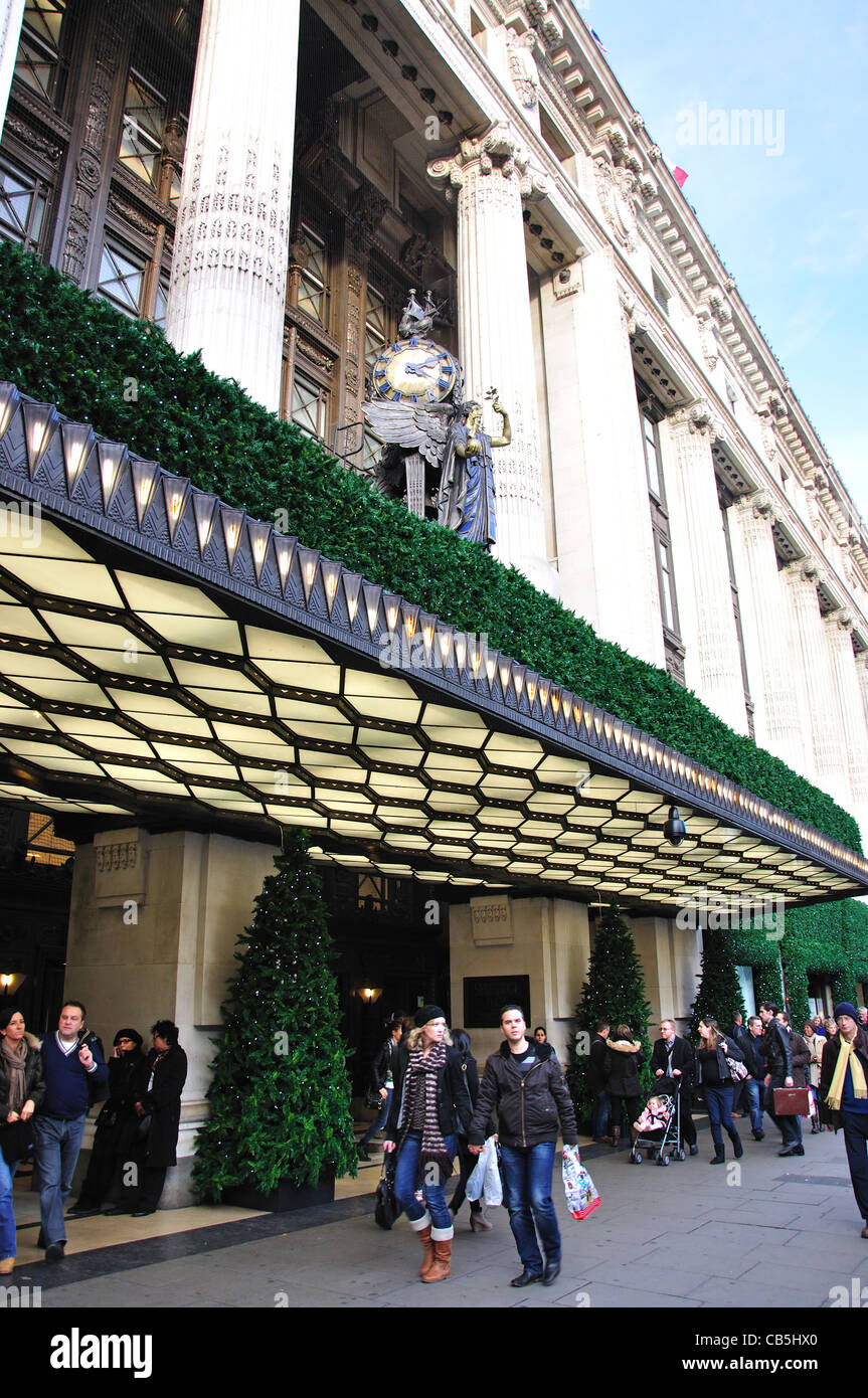 Selfridges department store at Christmas, Oxford Street, City of Westminster, London, England, United Kingdom - Stock Image