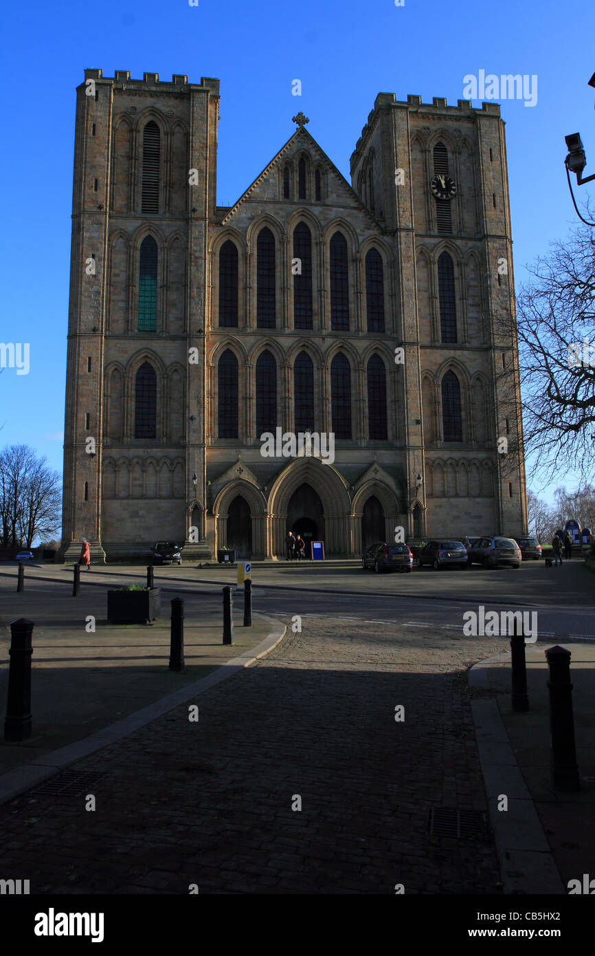 Ripon Cathedral outside front entrance view - Stock Image