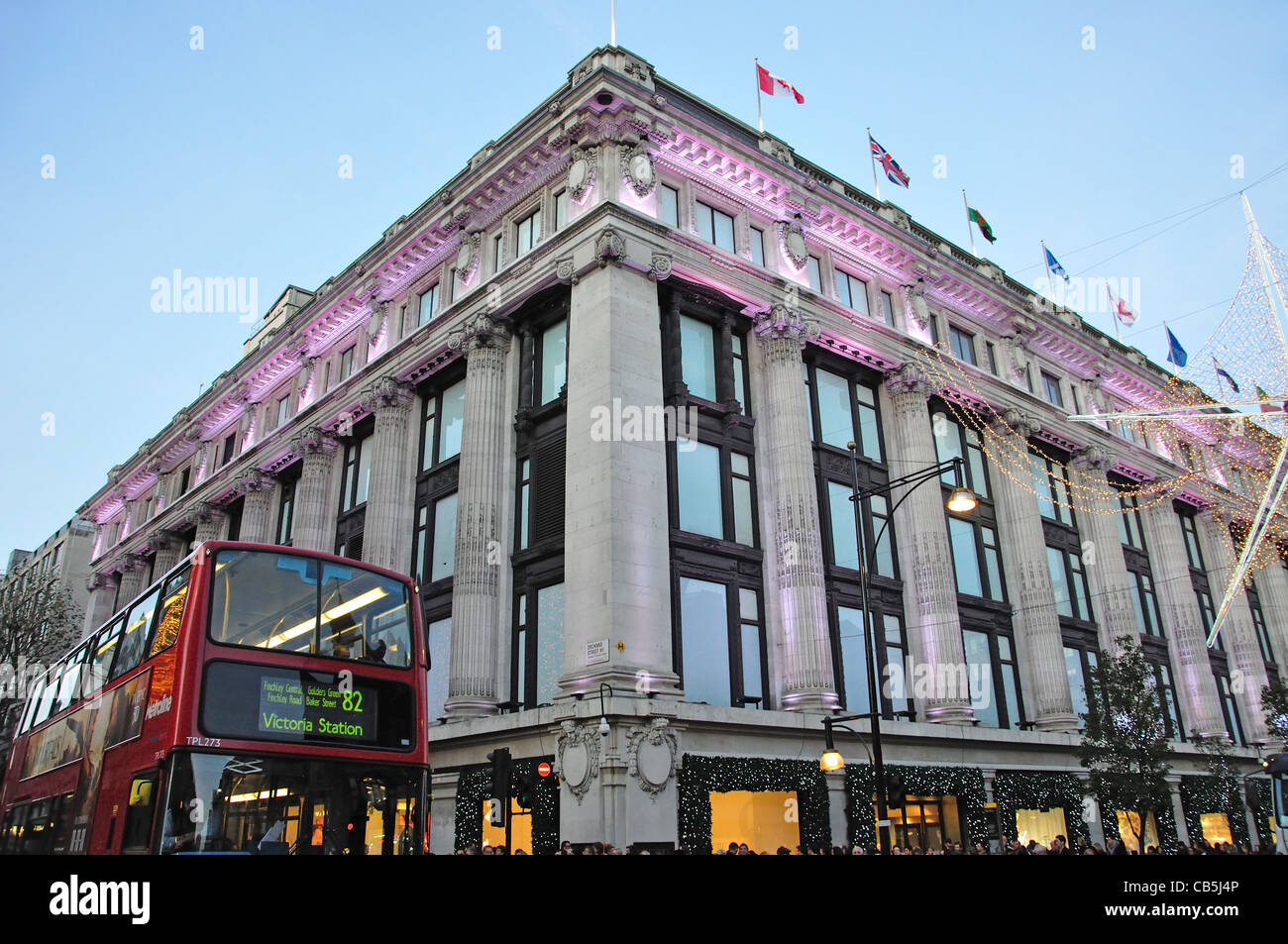 Selfridges department store at Christmas, Oxford Street, City of Westminster, London, Greater London, England, United - Stock Image