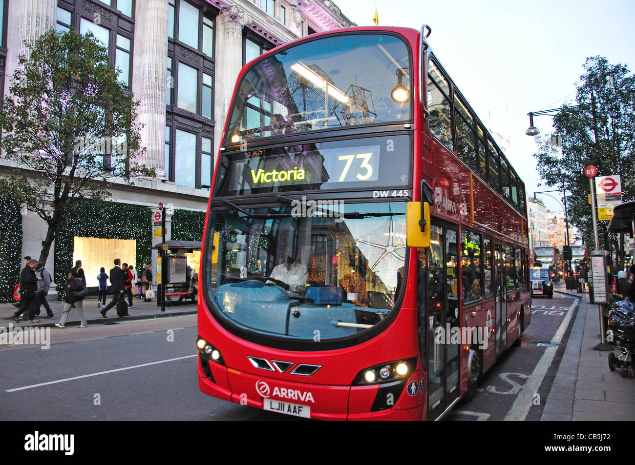 Double decker bus in Oxford Street, City of Westminster, London, Greater London, England, United Kingdo - Stock Image