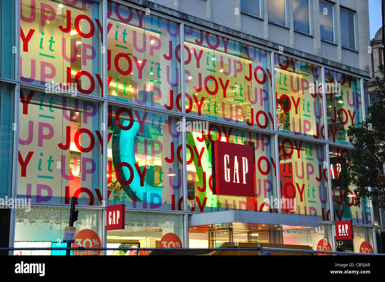 Gap clothing store at Christmas, Oxford Street, City of Westminster, London, Greater London, England, United Kingdom - Stock Image