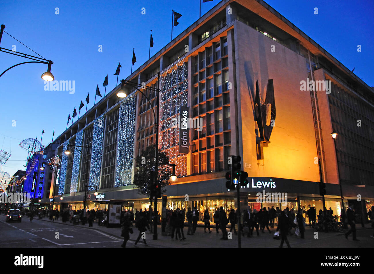 John Lewis department store at Christmas, Oxford Street, City of Westminster, London, Greater London, England, United - Stock Image