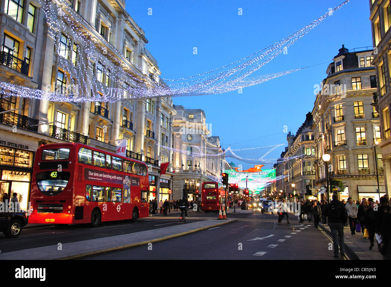 2011 Christmas lights in Regent Street, Soho, City of Westminster, London, Greater London, England, United Kingdom - Stock Image
