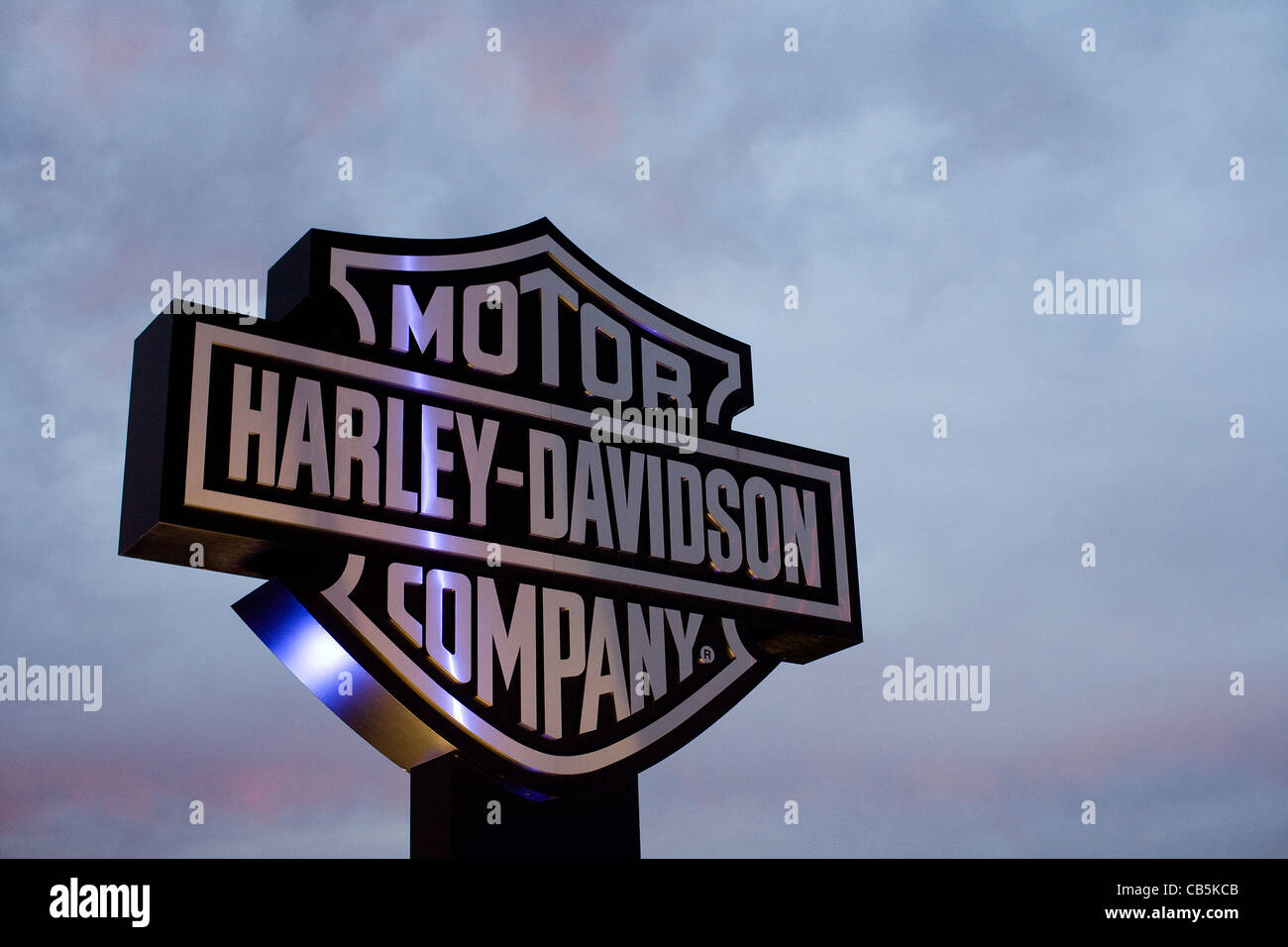 A sign outside of the Harley-Davidson York manufacturing plant.  - Stock Image