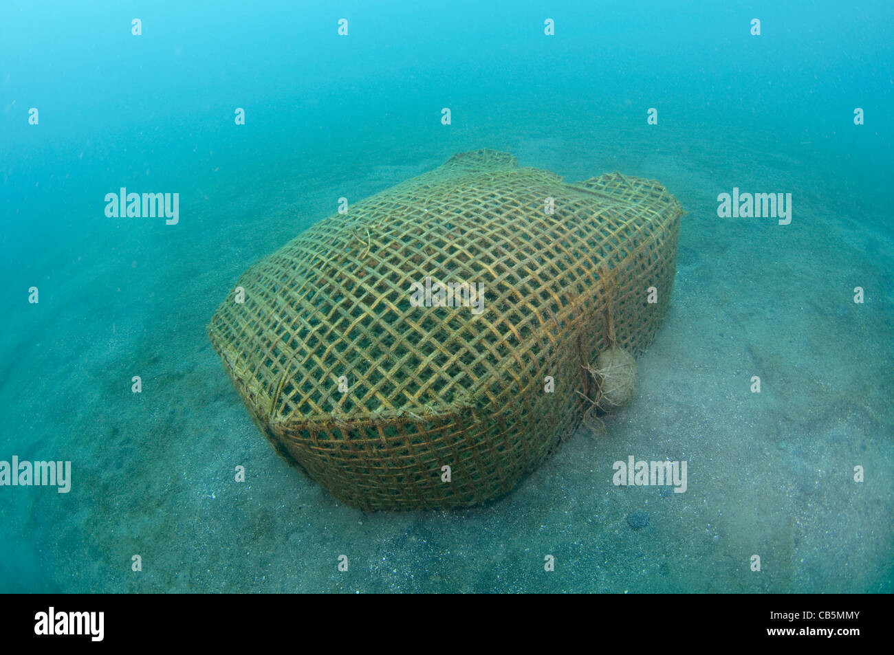 Bamboo Fish Trap, Lembeh Strait, Bitung, Manado, North Sulawesi, Indonesia, Pacific Ocean - Stock Image