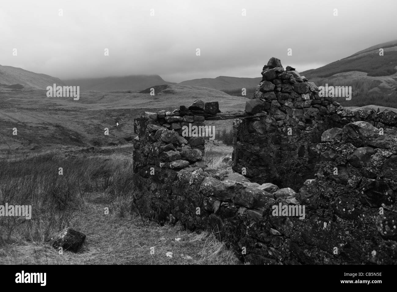 Ruined farm building and distant Glen More, Isle of Mull, Scotland. - Stock Image