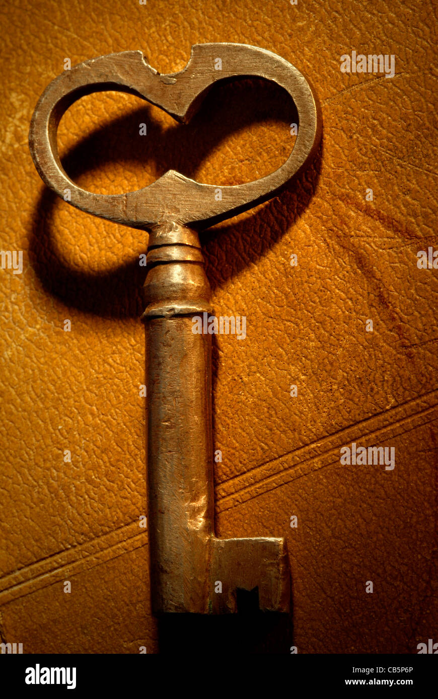 old key on the book,special photo f/x,focus on the center of image - Stock Image