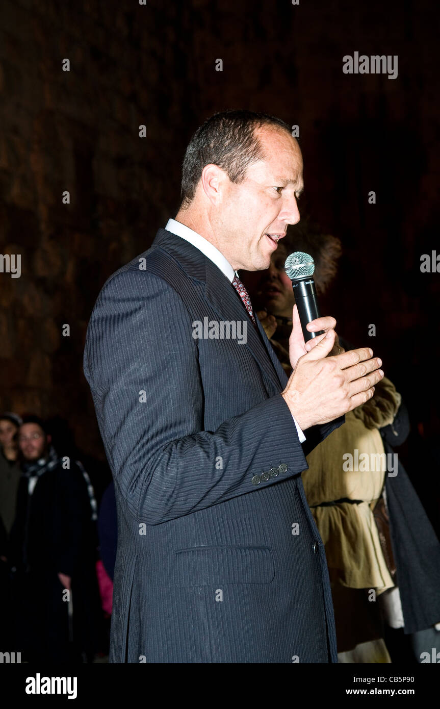 The mayor of Jerusalem Nir Barkat opens the annual medieval style knight festival held in the old city of Jerusalem - Stock Image
