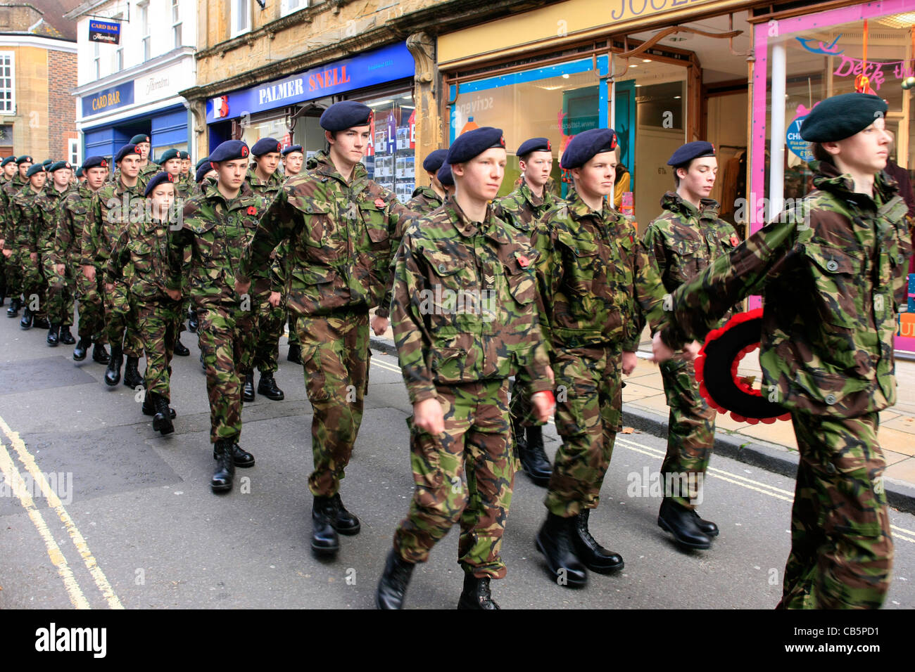 British Army Cadets march in the Remembrance Parade in Sherborne Dorset - Stock Image