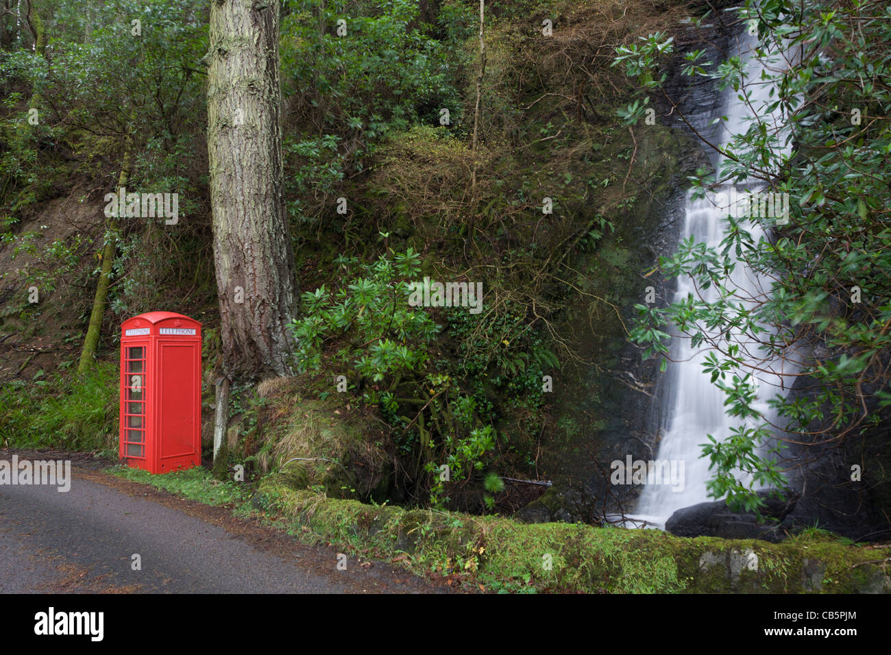 Phone box featured in movie 'I know where I'm Going' at Carsaig Bay, Isle of Mull, Scotland. - Stock Image