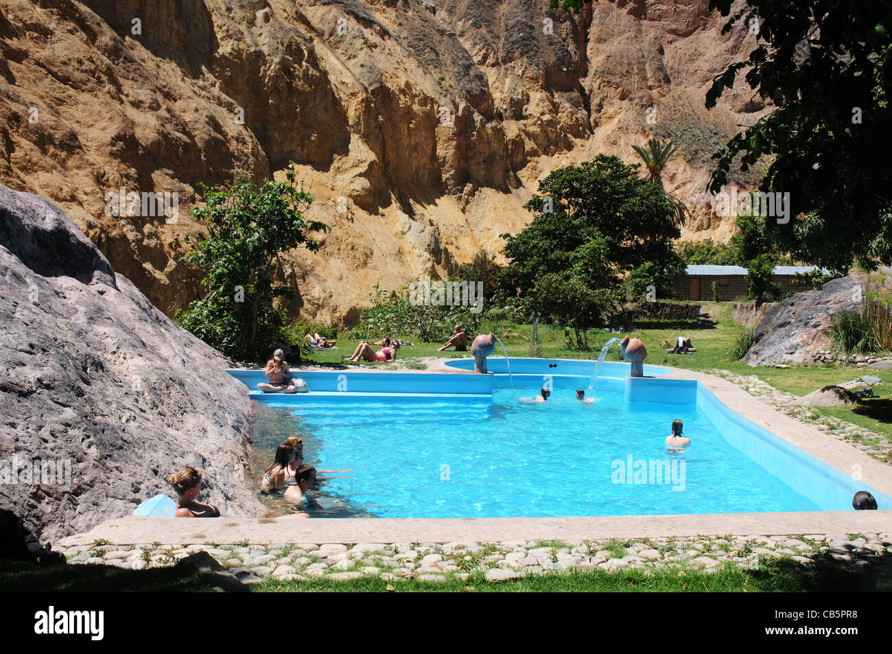 Swimming pools in the Sangalle oasis in Colca Canyon, Peru Stock ...