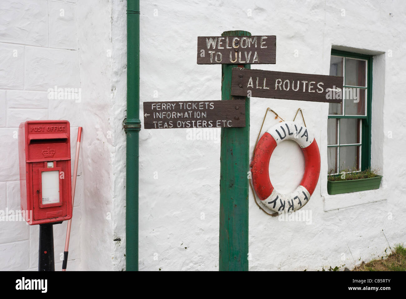Detail of signs for walking routes around the Isle of Ulva, Isle of Mull, Scotland. - Stock Image