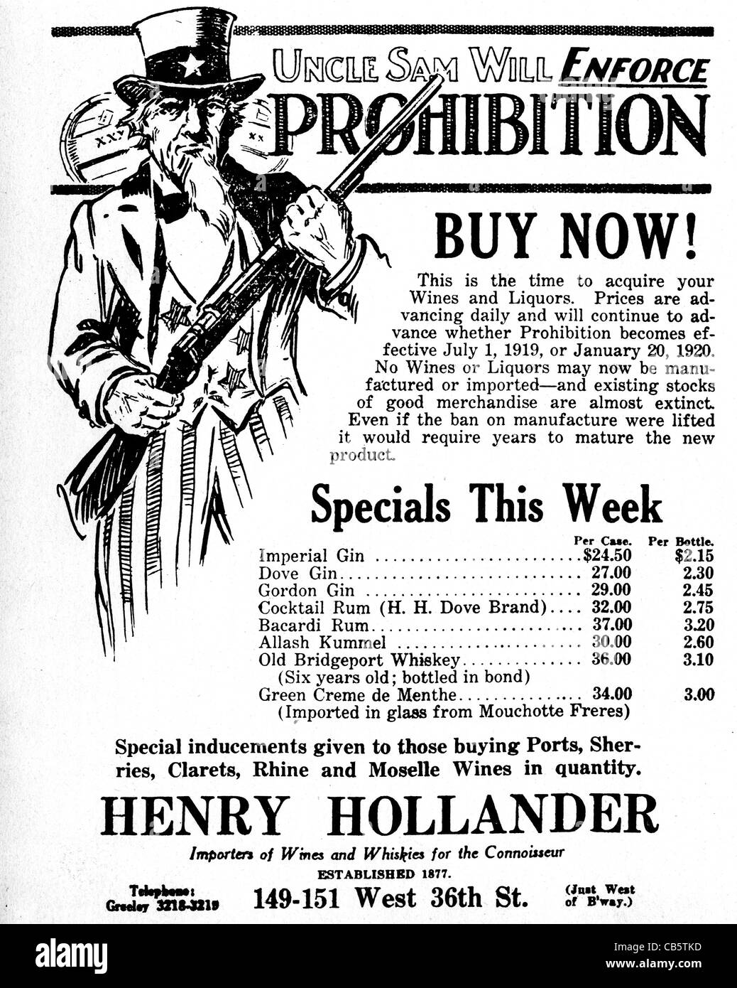 PROHIBITION IN USA  Magazine advert from 1919 urging drinkers to stock up before legislation is enacted - Stock Image