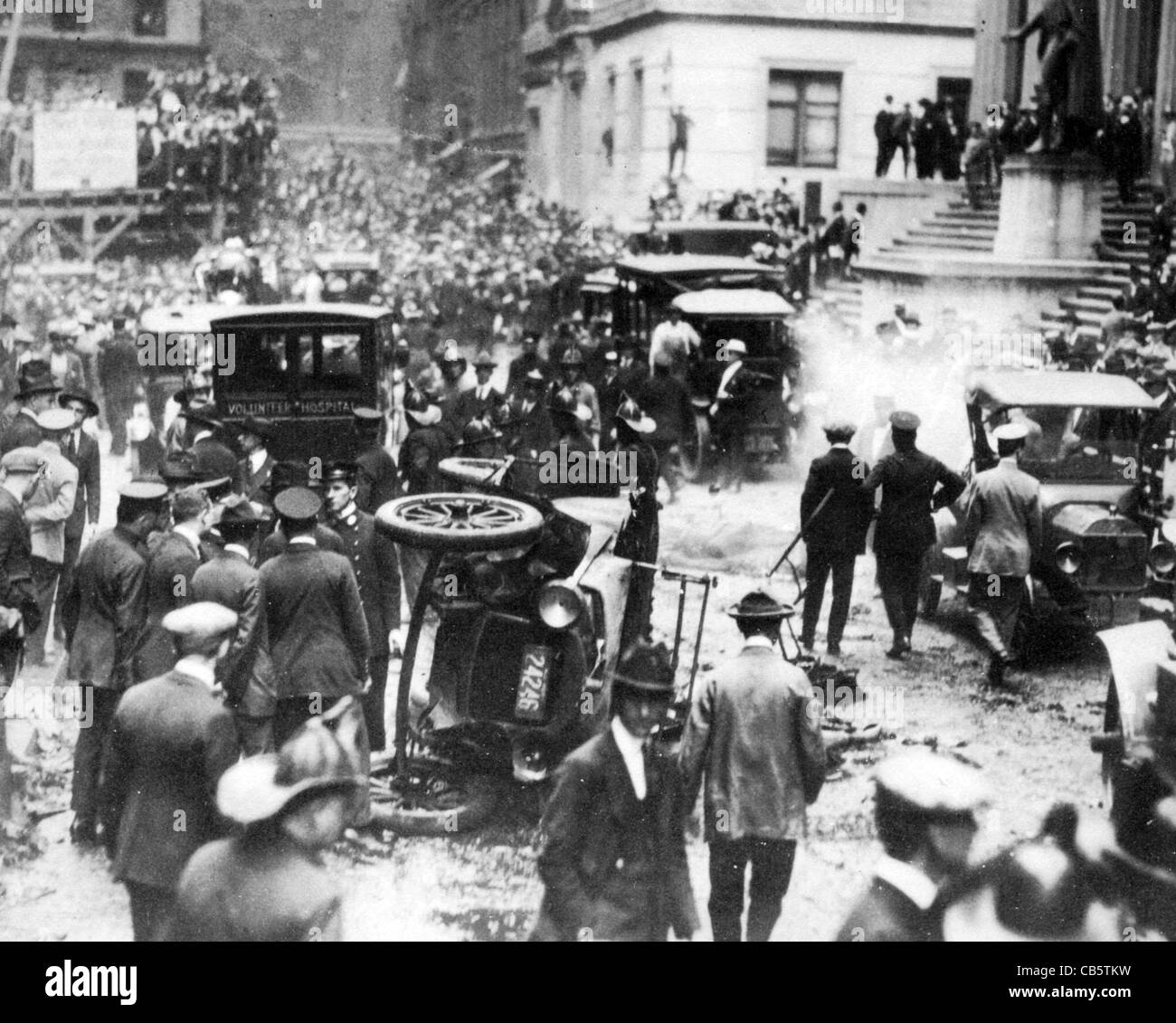WALL STREET EXPLOSION 16 September 1920. Aftermath of the explosion outside the offices of J.P.Morgan & Co - Stock Image