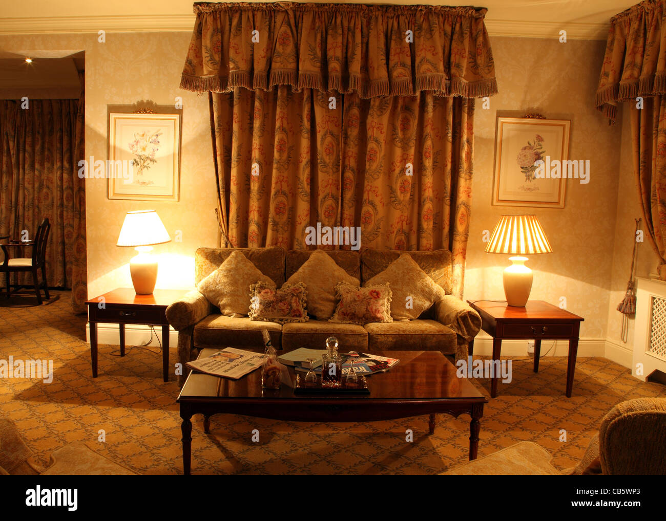 Suite sitting room in Ashford Castle, member of Leading Hotels of the World, Cong, Co. Mayo, Ireland - Stock Image