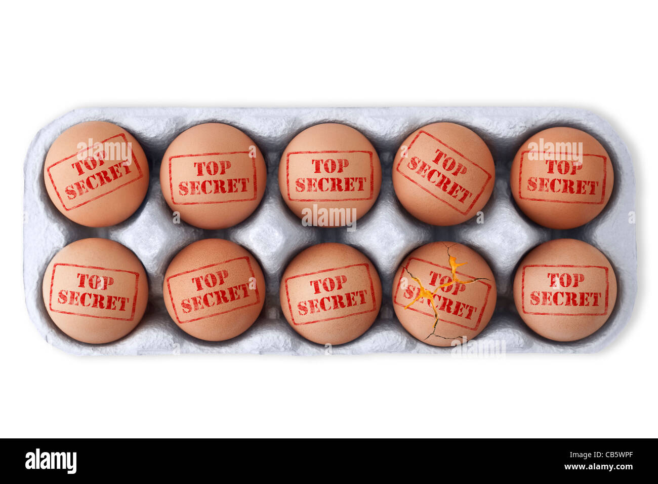Box of eggs with TOP SECRET stamped on top of each.  One broken with the yoke leaking out. White background, Cutout - Stock Image