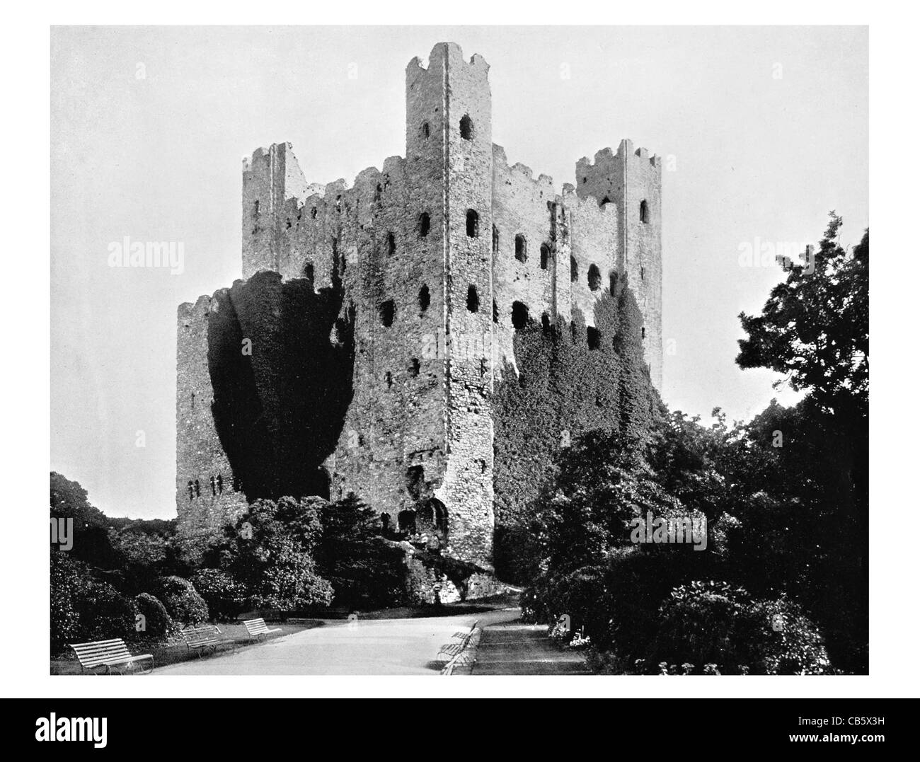 Rochester Castle Kent England keep stone tower royal Norman Conquest - Stock Image