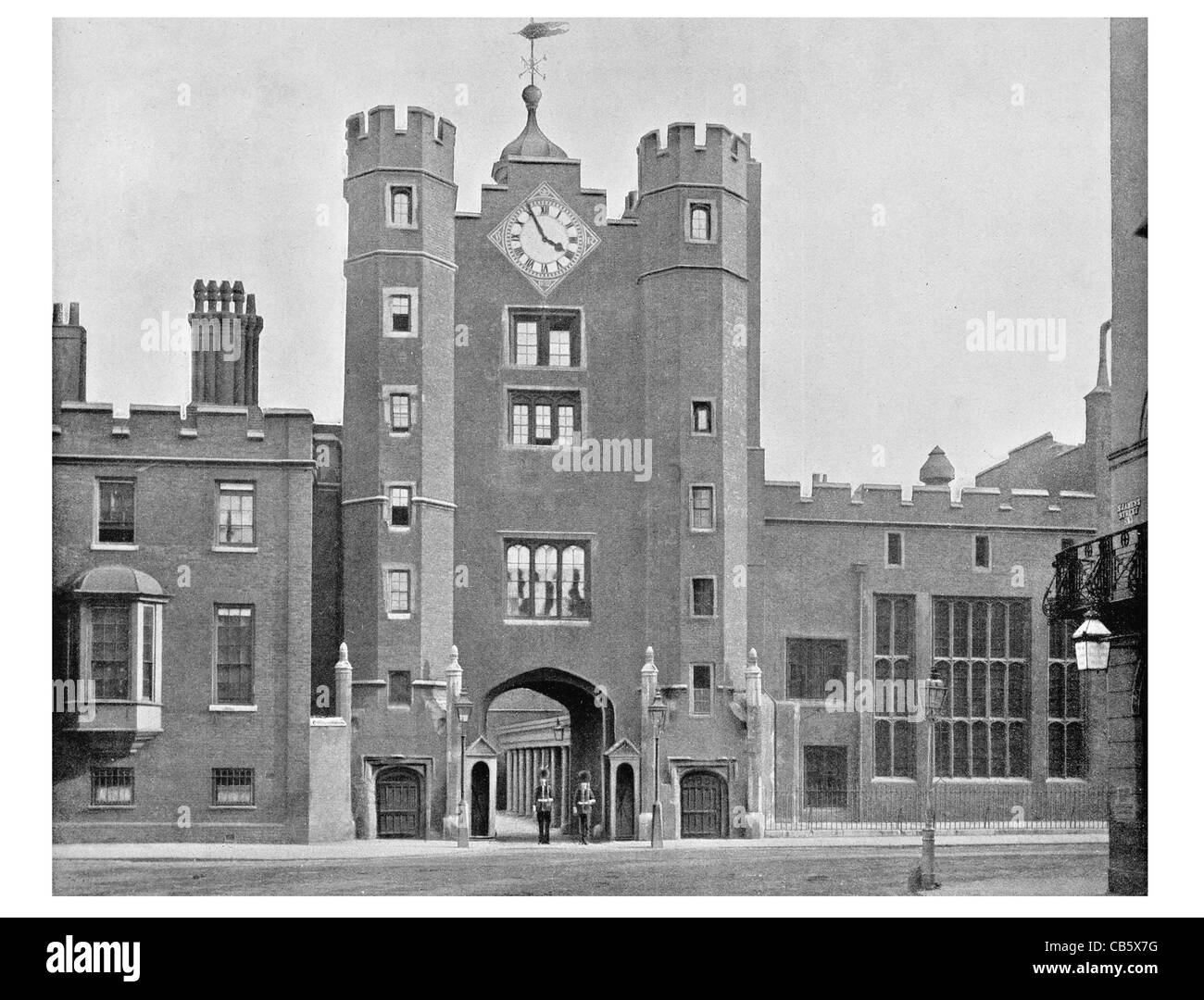 St. James's Palace Pall Mall red brick Tudor style London England Royal residence - Stock Image
