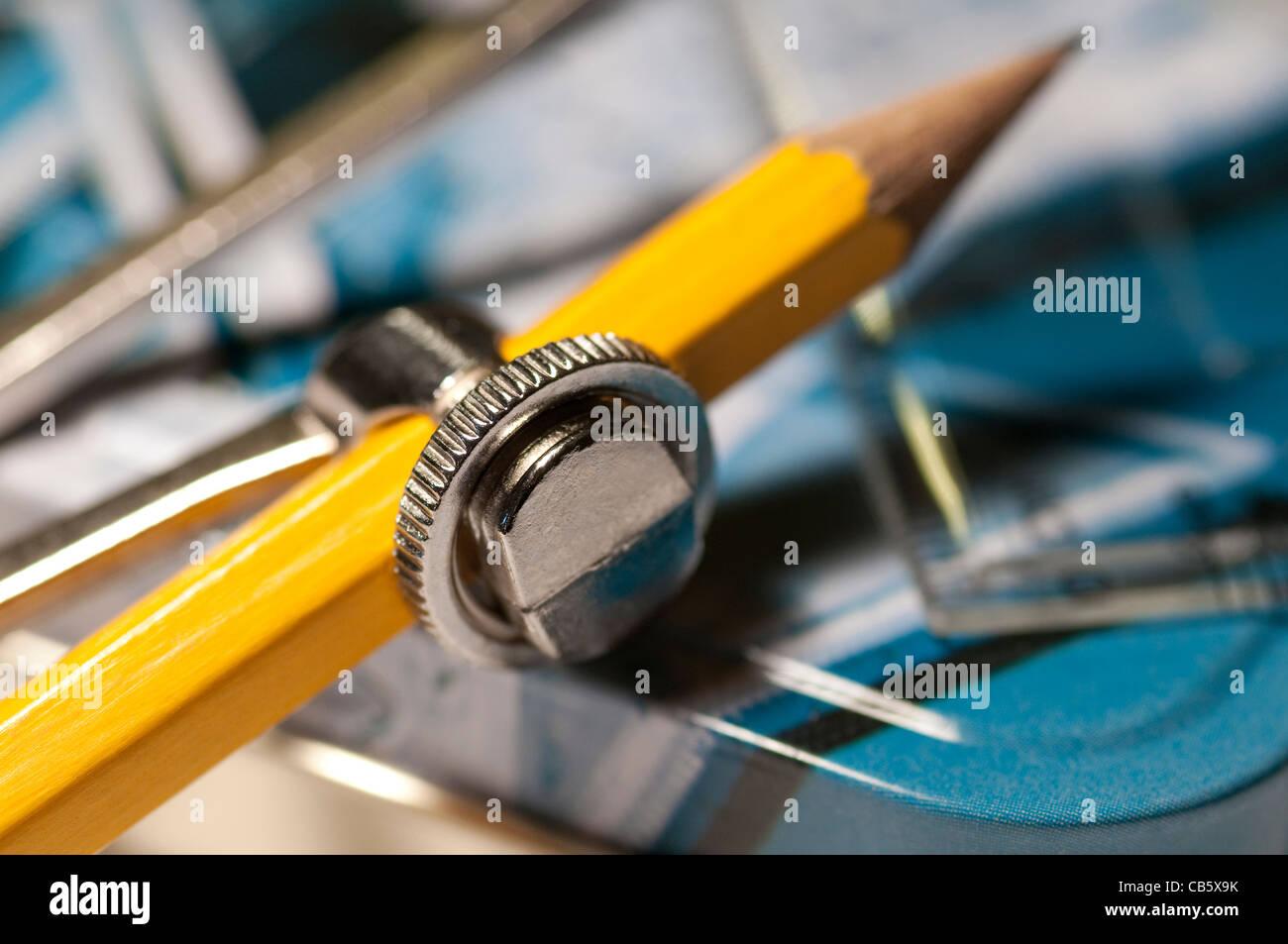 child's geometry compass set - Stock Image