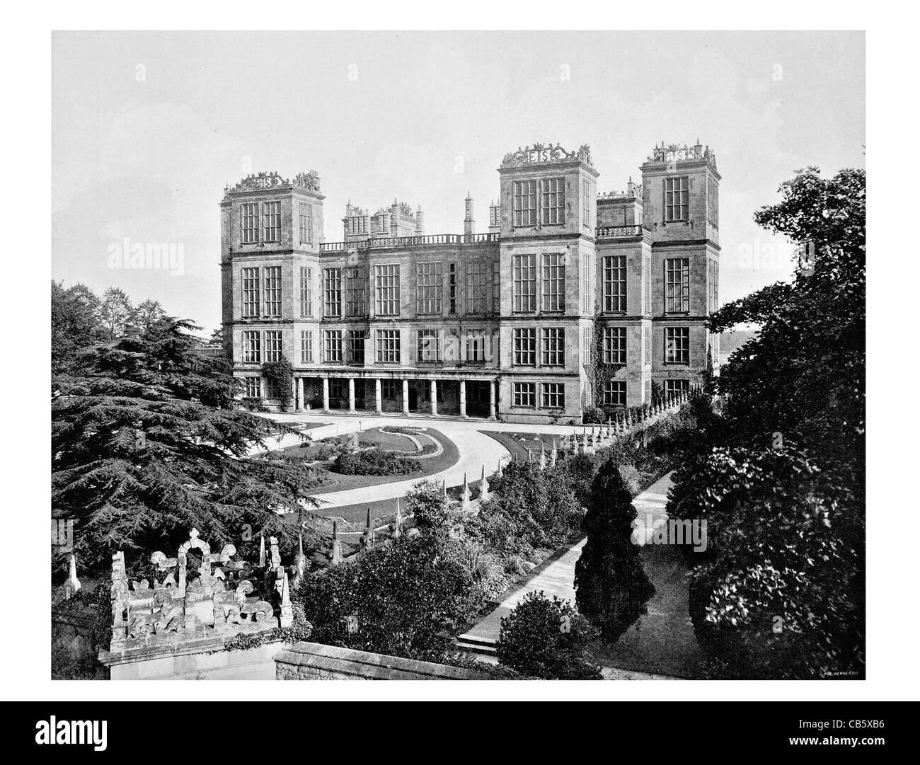 Hardwick Hall Derbyshire Elizabethan country houses England Robert Smythson Renaissance style - Stock Image