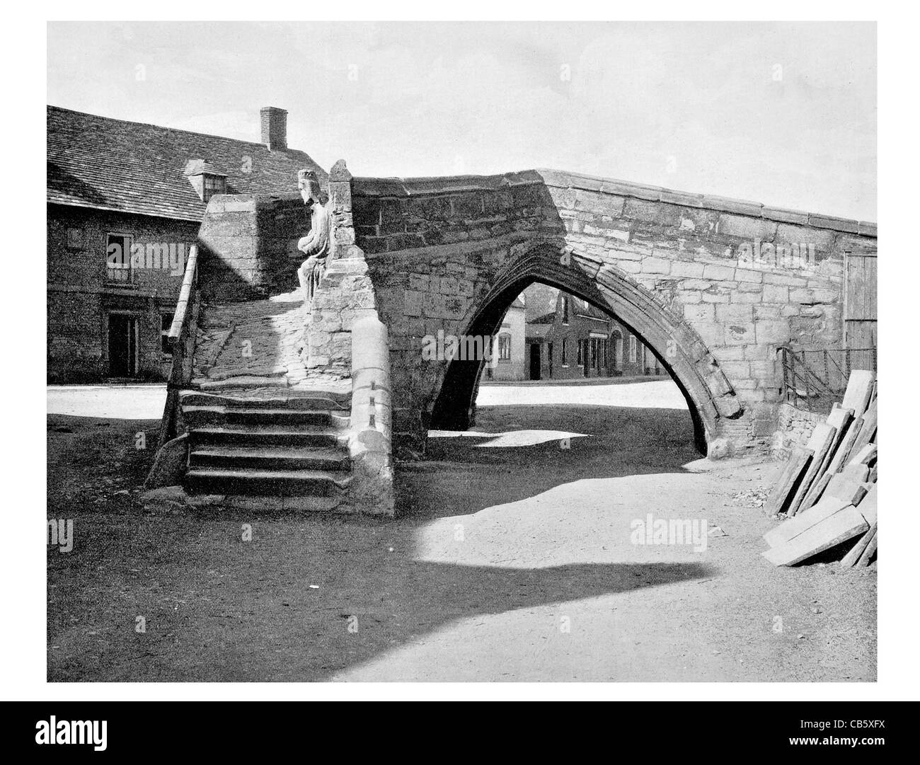 Trinity Bridge England Crowland Lincolnshire stairway River Welland scheduled monument grade I listed Barnack stone - Stock Image